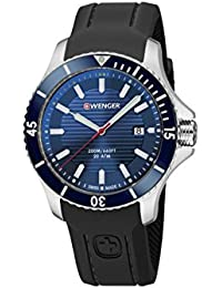 Men's 'Seaforce' Swiss Quartz Stainless Steel and Silicone Casual Watch, Color:Black (Model: 01.0641.119)