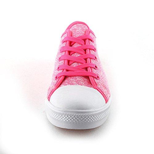 Idea Frames Kinder Heren Dames Flyknit Ademend Casual Lage Top Sneakers Roze