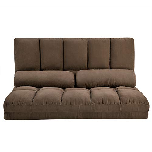Double Chaise Lounge Sofa Chair Floor Couch with Two Pillows (Brown) (Chair Sleeper Lounge)