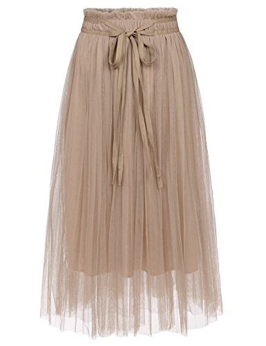 Womens Skirt Beige (NEARKIN (NKNKWLSK62 Lady Waistband Drawstring 3 Layer Tulle Tutu Midi Skirt Beige US M(Tag Size L))