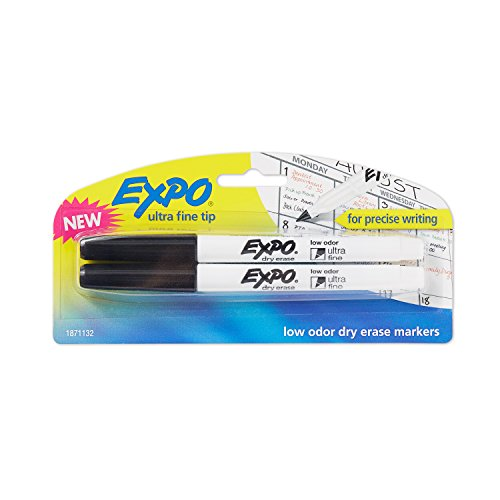 EXPO 1871132 Low-Odor Dry Erase Markers, Ultra Fine Tip, Black, -