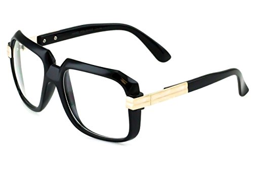 Gazelle Emcee Oversized Square Sunglasses w/Clear Lenses (Black & Gold Frame, ()