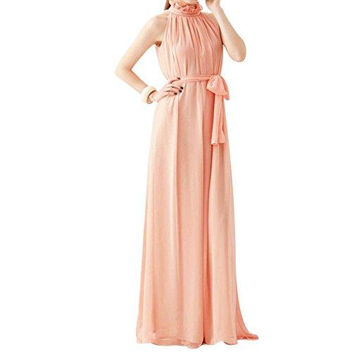 [Women Elegant Bohemian Style Fairy Dress Sexy Chiffon Sleeveless Long Dress (Pink)] (Pink Renaissance Dress)