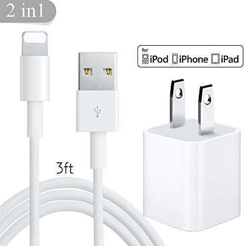 CovertSafe Phone Charger, Charger Adapter + Cable,Phone Charger Charging Cable Compatible with Phone X 8 8 Plus 7 7 Plus 6 6S 6 Plus 5S SE(White)