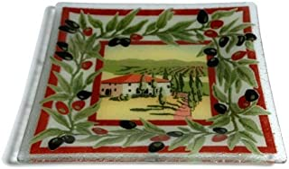 product image for Peggy Karr Handcrafted Art Glass Tuscan Villa Plate, Square, 10-Inch