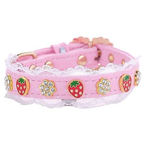 Stock Show 1Pc Dog Cat Cute Fashion PU Leather Rhinestone Collar Blingbling Strawberry&Heart&Flower Diamond Lace Decor Pet Adjustable Neck Strap Accessary Dog Cat Puppy, Pink ()