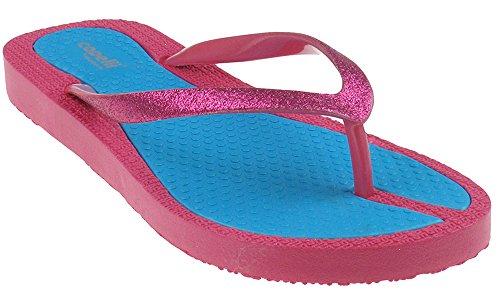 Capelli New York Fint Glitter Faux Lær Damene Flip Flops Rosa Combo