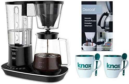 Cuisinart DCC-4000 12-Cup Programmable Coffee Maker, Black Includes Machine Descaling Powder and Set of Two Mugs with Spoons
