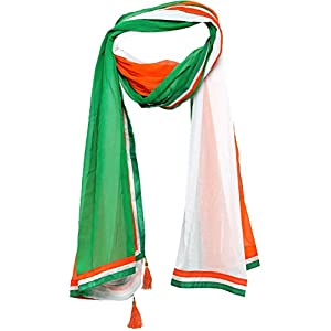 EthnicJunction Men's and Women's Chiffon Independence Day Scarf (Tricolour, Free Size)