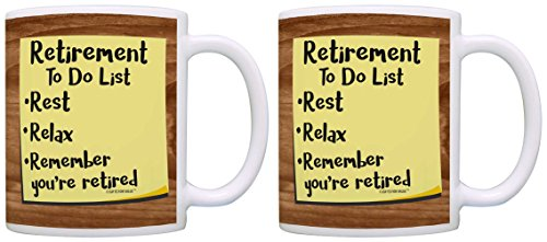 Retirement Decorations Retirement To Do List 2 Pack Gift Coffee Mugs Tea Cups Simulated Wood