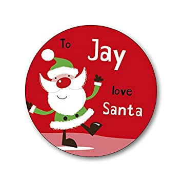 15 personalised christmas xmas gift labels stickers santa red add your own name