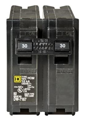 Circuit Breaker 2-Pole 30 Amp for Overload and Short-Circuit Protection