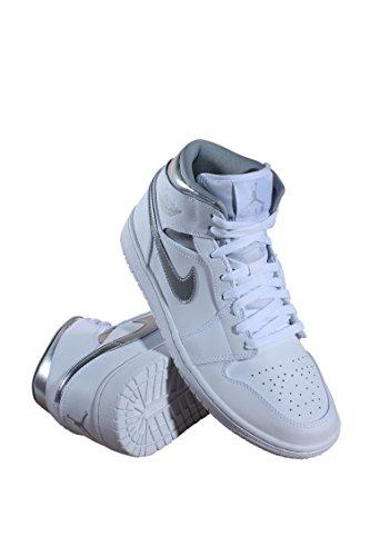 Nike Men's Air Jordan 1 Mid Basketball Shoe White Metallic Silver free shipping popular best prices buy cheap low shipping aV3USx