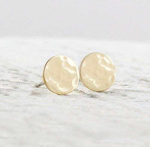 (Dainty 6mm Gold Filled Circle Stud Earrings Jewelry Gift For Women Hammered Texture)