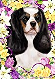 "Cavalier King Charles Spaniel Tri-color by Tamara Burnett Easter Flowers Garden Dog Breed Flag 12"" x 18″ For Sale"