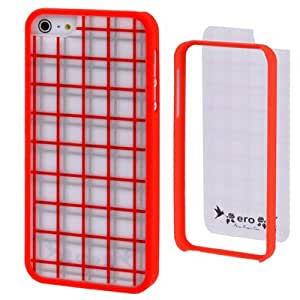 Ero Airmail Series Grid Pattern Split Plastic Protective Carcasa con marco protector para iPhone 5 (Red) Frame