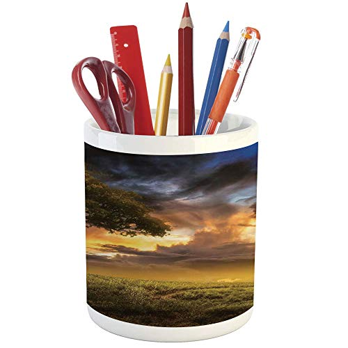 Pencil Pen Holder,Tree,Printed Ceramic Pencil Pen Holder for Desk Office Accessory,Dreamy Landscape Sunset at Hill Clouds Mystery Contemplation Tranquil Wisdom