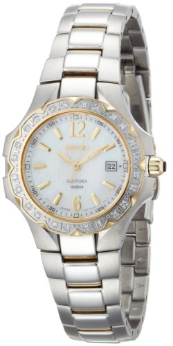 (Seiko Women's SXDB60 Coutura Two-Tone White Mother Of Pearl Dial 24 Diamonds Watch)