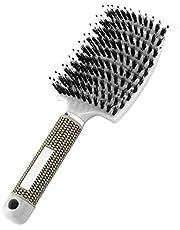 Riastvy Escova de cabelo com cerdas de javali para desembaraçar a melhor escova de cabelo curvada, ventilada e grande design para cabelos longos, grossos, encaracolados e embaraçados, escova de secagem para homens e mulheres