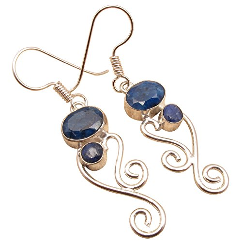 - HANDMADE INDIAN DESIGN ART EARRINGS ! ROYAL SAPPHIRE Gem ! 925 Sterling Silver Plated Girls' Jewelry