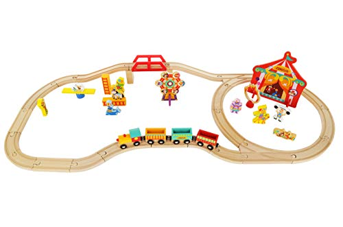 Wooden Train Set Toy Magnetic Trains Cars & Accessories for Toddlers & Kids 3+ Circus Train Set
