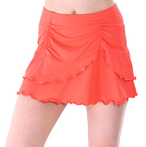 - Women's Solid Ruffle Layered Swimsuit Beach Cover Up Skirt, Coral, L