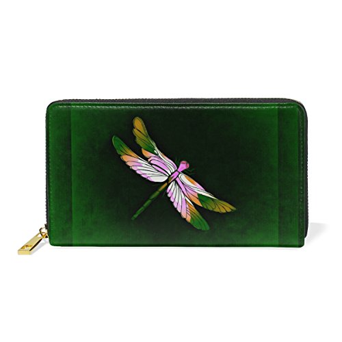Green Dragonfly Wallet Real Leather Zipper Coin Phone Purse Clutch for Women (Dragon Leather Green)