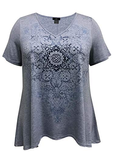 - LEEBE Plus Size Short Sleeve High-Low Print Top (1X-5X) (1X (14-16), Blue Medallion with Stones)
