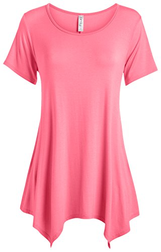 Simlu Tunic Top for Women Short sleeve Flowy,Coral,XX-Large ()