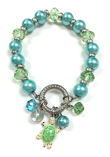 Linpeng Fiona Pearl and Crystal Bead Painted Plastic Turtle with Dangles Stretch Bracelet