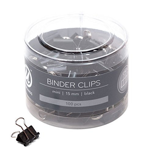U Brands Binder Clips, Mini 5/8-Inch Width, 1/5-Inch Paper Holding Capacity, Black and Silver Steel, 100-Count