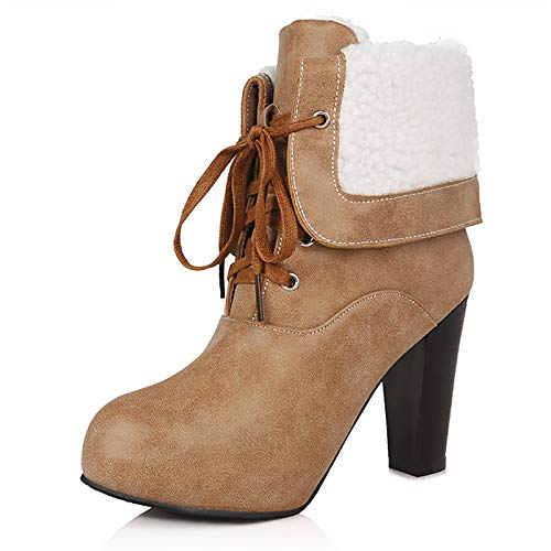 Light Brown 9.5 -10 US Light Brown 9.5 -10 US Women's Fashion Boots PU (Poliuretano) Winter Boots Chunky Heel Round Toe Mid -Calf Boots Light Grey /Red /Light Brown /Party *