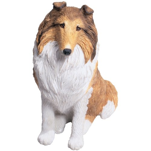 Sandicast Mid Size Sable and White Collie Sculpture, Sitting