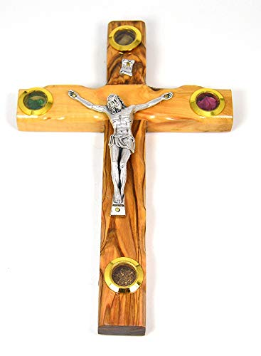 Standing Jerusalem Stone - Holy Land Olive Wood Jerusalem Cross with Silver-Tone Crucified Christ and Holy Soil, Stones, Olive Leaves and Frankincense