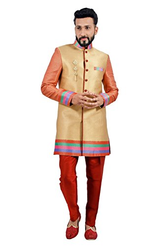 Designer Short Multicolored Indian Wedding Indo-Western Sherwani for Men by Saris and Things