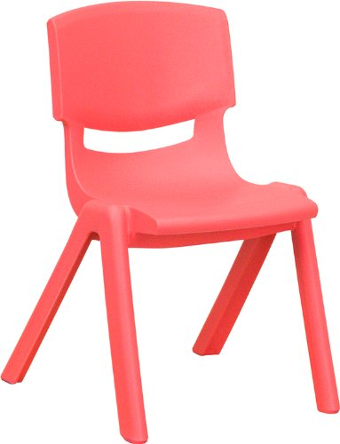 Flash Furniture Red Plastic Stackable School Chair with 12'' Seat Height (Chairs Height)