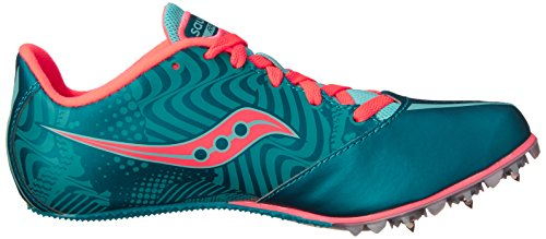 Saucony Women's Spitfire Spike Shoe, Teal/Coral, 7 M US by Saucony (Image #7)