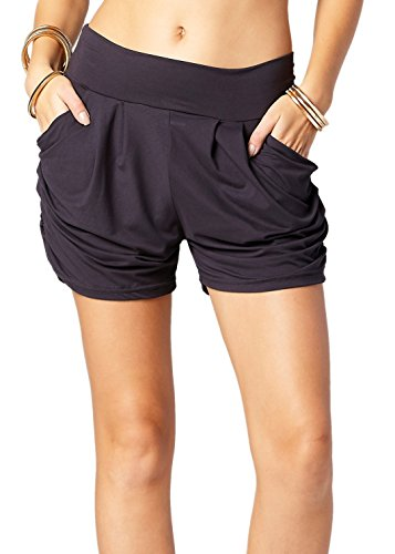 Premium Ultra Soft Harem High Waisted Shorts for Women with Pockets - Solid - Charcoal Grey - Small/Medium (0-10)