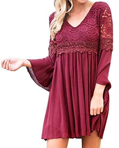 kenoce Women's Bell Sleeve Floral Lace Dress A-line Loose Casual Mini V Neck Summer Party Dress Wine Red -