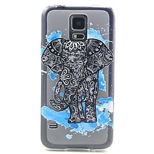 WQQ patrón elefante azul alivio TPU caso de la contraportada para i9600 Samsung Galaxy S5
