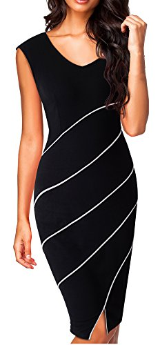 HOMEYEE Womens Chic Business Cap Sleeve Pencil Sheath Party Cocktail Dress B365