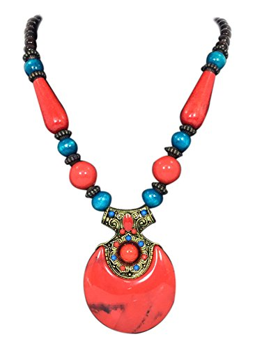 Handicraft Fashion Jewelry with Brass Pendant and Multi Color Beads Necklace for Women (Red)