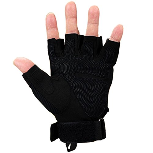 Jinxin Special forces tactical gloves outdoor protective fighting army fan half refers to men's fingerless gloves (Size : M)