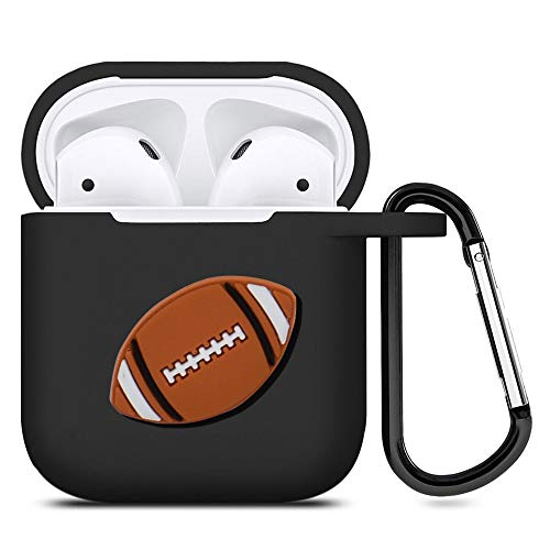 (Football AirPods Case Black Soft TPU Full Protective Cover Compatible with AirPods 2 & 1)