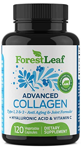 Advanced Collagen Supplement, Type 1, 2 and 3 with Hyaluronic Acid and Vitamin C - Anti Aging Joint Formula - Boosts Hair, Nails and Skin Health - 120 Veggie Capsules - by ForestLeaf from ForestLeaf