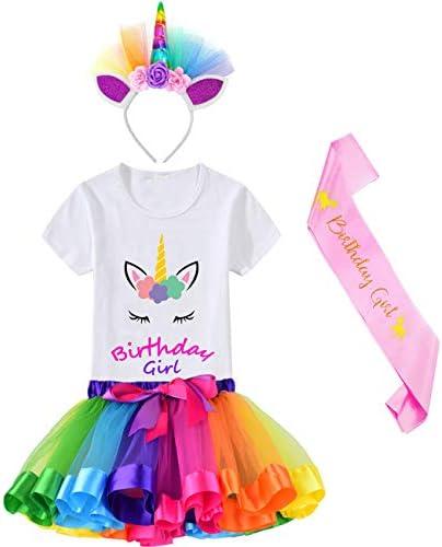 HBeatific Little Girls Layered Tulle Rainbow Tutu Skirt with Unicorn T-Shirt,Headband and Birthday Sash – The Super Cheap