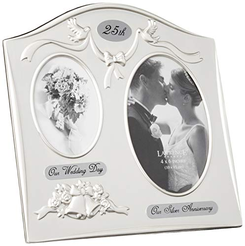 Lawrence Frames Satin Silver and Brass Plated 2 Opening Picture Frame, 25th Anniversary Design -