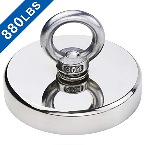 DIYMAG Super Strong Neodymium Fishing Magnets, 880 lbs(399 KG) Pulling Force Rare Earth Magnet with Countersunk Hole Eyebolt Diameter 3.55 inch(90mm) for Retrieving in River and Magnetic Fishing (Magnetic Hockey)