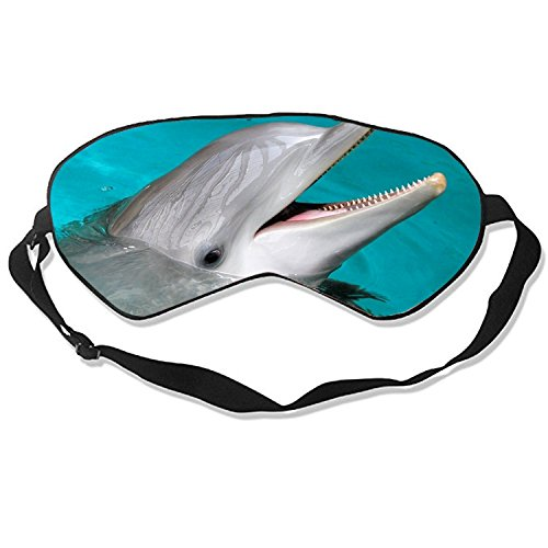 Dolphins in Water Sleep Eye Mask for Sleeping Contoured Eyemask Silk Best Night Blinder Eyeshade for Men Women Kids