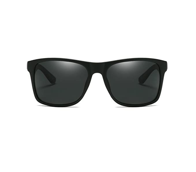 1d510934e88 Vintage Retro 58mm Polarized Square Sunglasses for Men Women Rectangle HD  Lens (Black